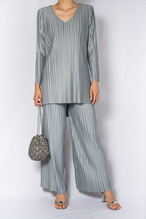 MODZ Grey Pleated Long Co-ord Top and Pants Set Modest Long Sleeves Silver Top and Loose Trousers