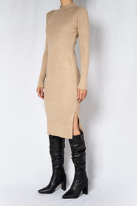 MODZ Beige Rib Long Sleeves Midi Dress Modest Knee-Length High Neck Dress in Cotton