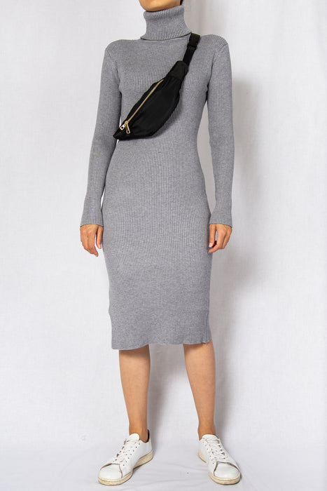 MODZ Grey Rib High Neck Long Sleeves Midi Dress Modest Knee-Length Dress With Polo Neck in Ribbed Cotton