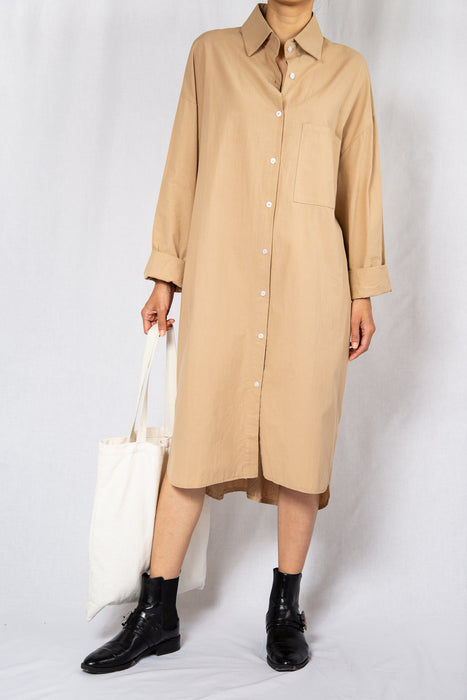 MODZ Beige Loose Midi Shirt Dress with Long Sleeves Modest Oversized Knee-Length Collared Dress in 100% Cotton
