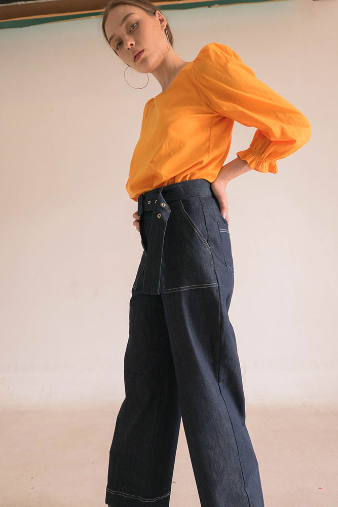 Belted Straight Pants in Denim