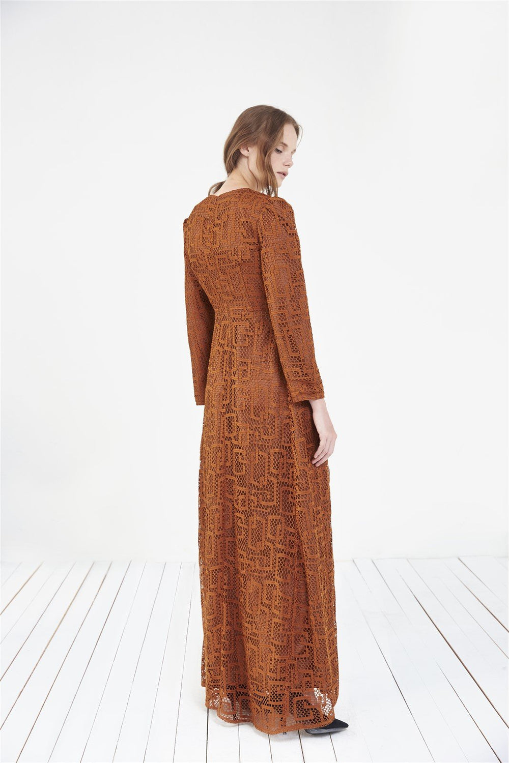 STORE WF Lace Maxi Dress Modest Loose Fitted Maxi Lace Dress with Long Sleeve in Brown Orange in Polyester