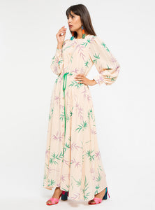 STORE WF Leaf Print Dress with Belt Modest Loose Fitted Long Maxi Floral Dress with Sleeves and Tie Front