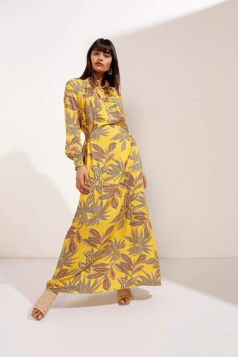 Leafy Print Maxi Dress with elasticated fitted waist