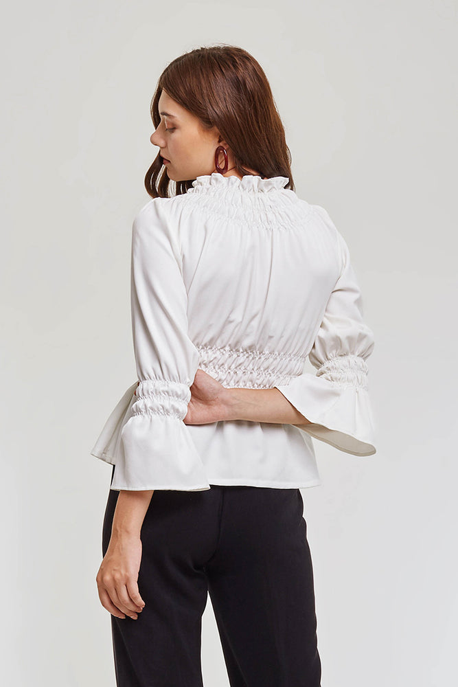 Domani Modest Long Sleeve White Top with Elastic and Frills on Waist and Cuffs in 100% Polyester
