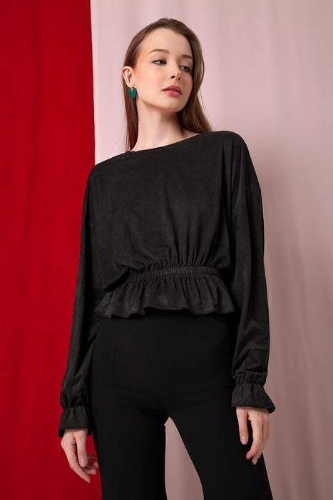 Domani Modest Long Sleeve Loose Fitting Top in Black with Elastic Waist and Sleeves in Suede
