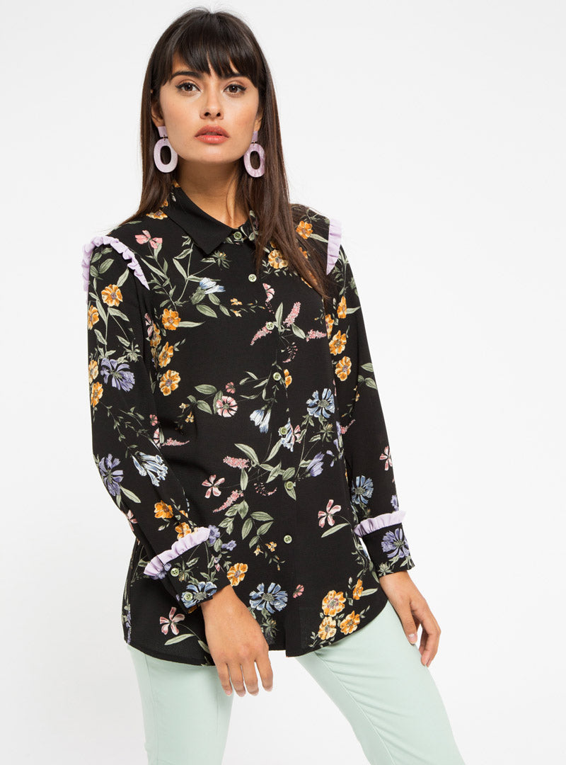 STORE WF Lilac Frill Detail Floral Shirt Modest Loose Fitted Long Black Top with Sleeves and Floral Prints