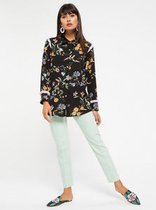 STORE WF Lilac Frill Detail Floral Shirt Modest Loose Fitted Long Black Top with with Sleeves and Floral Prints