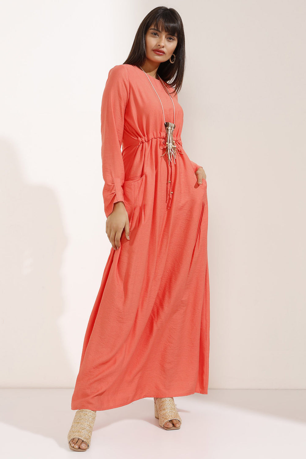 Store WF Long Orange Shirred Dress with Necklace Modest Maxi Dress with Long Sleeves, Gathered Waist and Front Pockets in 100% Cotton