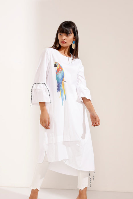 Store WF Long Sleeve White Dress with Parrot Design Modest Midi Dress in 100% Cotton