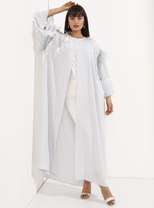 STORE WF Loose Cut Feathered Silver Kaftan Abaya Modest Open Abaya With Long Sleeves and Floral Embroidery in Silver