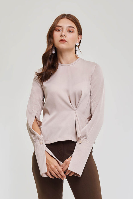 Domani Modest Long Sleeve Blouse with Button Cuffs and Long Sleeves in Nude in 100% Polyester