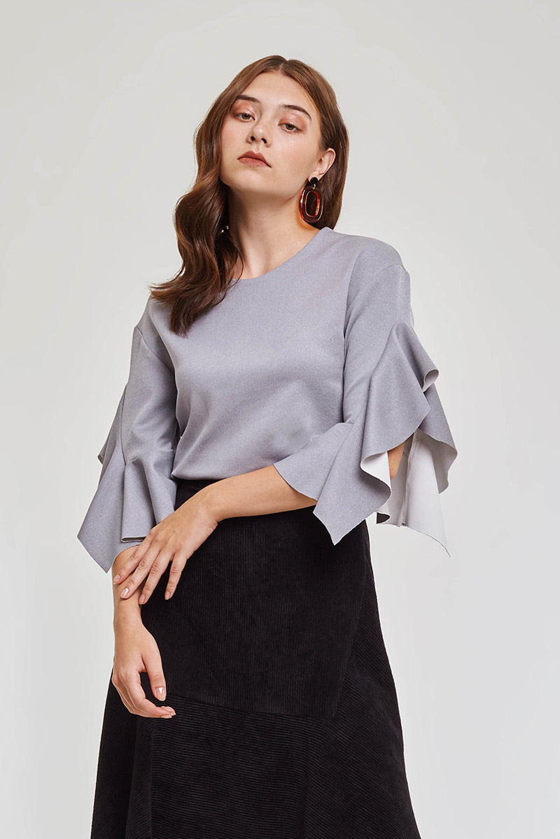 Domani Modest Long Sleeves Grey Top with Frills on Sleeves in 100% Polyester