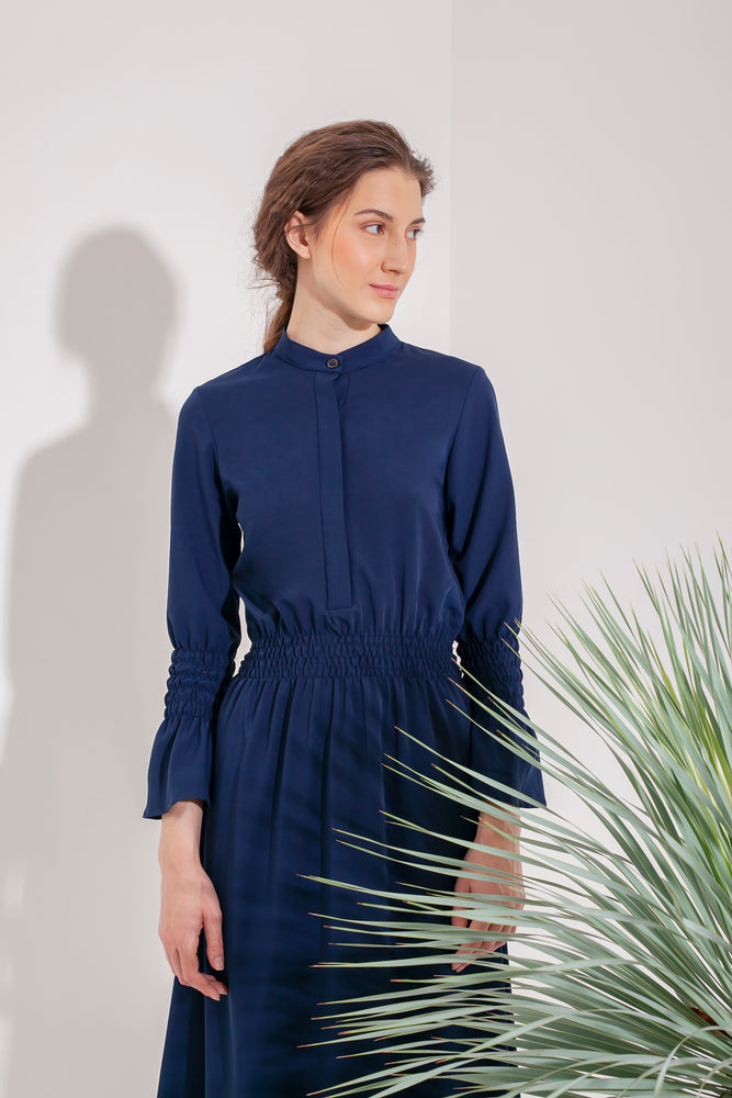 Domani Marilee Dress Modest Navy Midi Dress with Long Frill Sleeves, Loose Fitting and Gathered Waist in Crepe