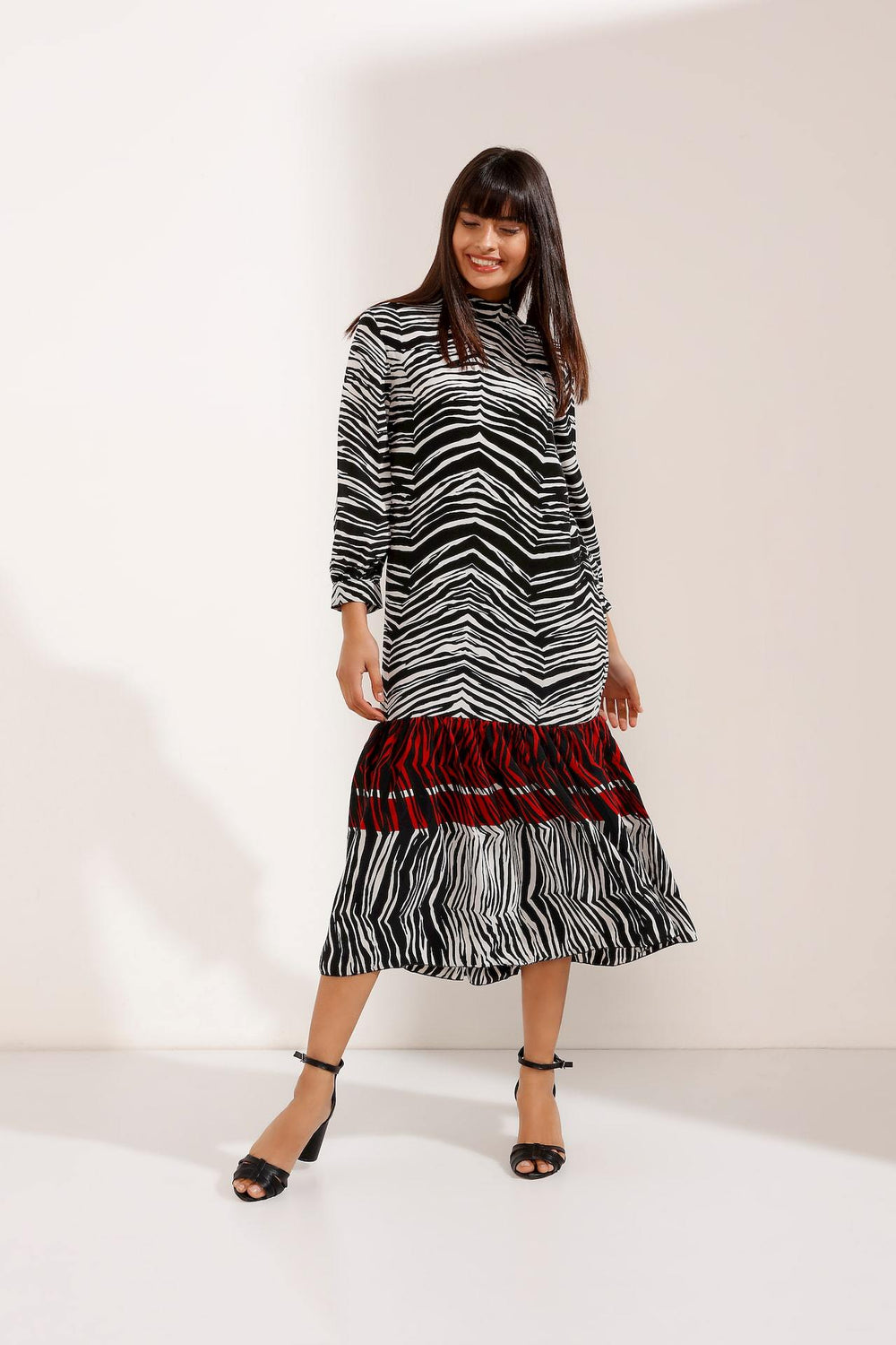 Store WF Multi Coloured Zebra Long Dress Modest Midi Zebra Print Dress with Long Sleeves in 100% Polyester