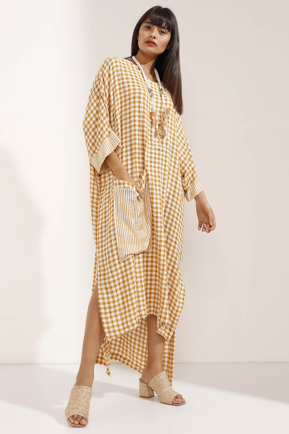 Store WF Mustard Checked Linen Maxi Dress with Necklace Modest Loose Fitting Yellow Dress with PocketStore WF Mustard Checked Linen Maxi Dress with Necklace Modest Loose Fitting Yellow Dress with Oversized Pocket and Attached Necklace in 100% linen