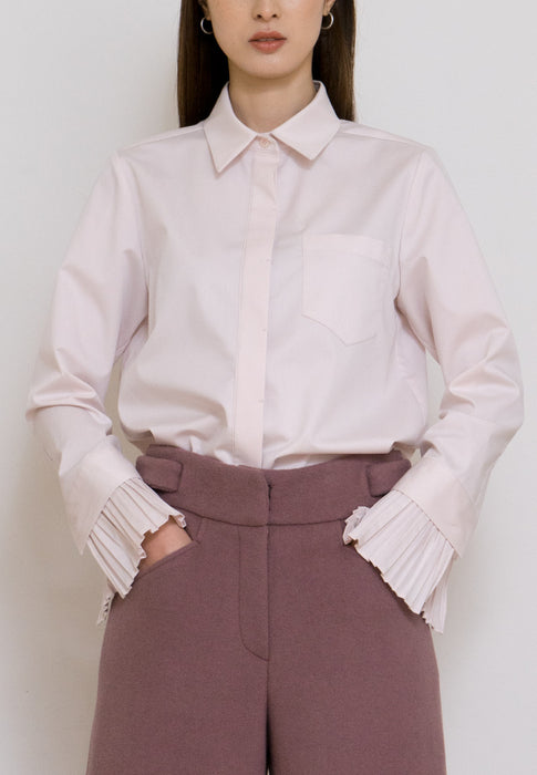 NOTA Modest Detachable Pleats Cuffs Shirt in Pink made from quality fabric front view