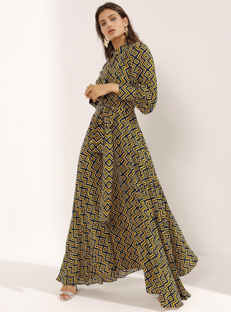 STORE WF Olive Green Modern Print Maxi Dress Modest Long Dress With Bold Pattern, Long Sleeves, Matching Sash Belt in Viscose