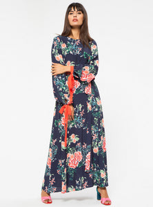 STORE WF Orange Contrast Floral Dress Modest Loose Fitted Maxi Floral Dress with Sleeves in Navy Viscose