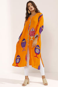 Store WF Orange Fish Print Viscose Tunic Modest Orange Long Top with Fish Prints, Long Sleeves and Front Buttons