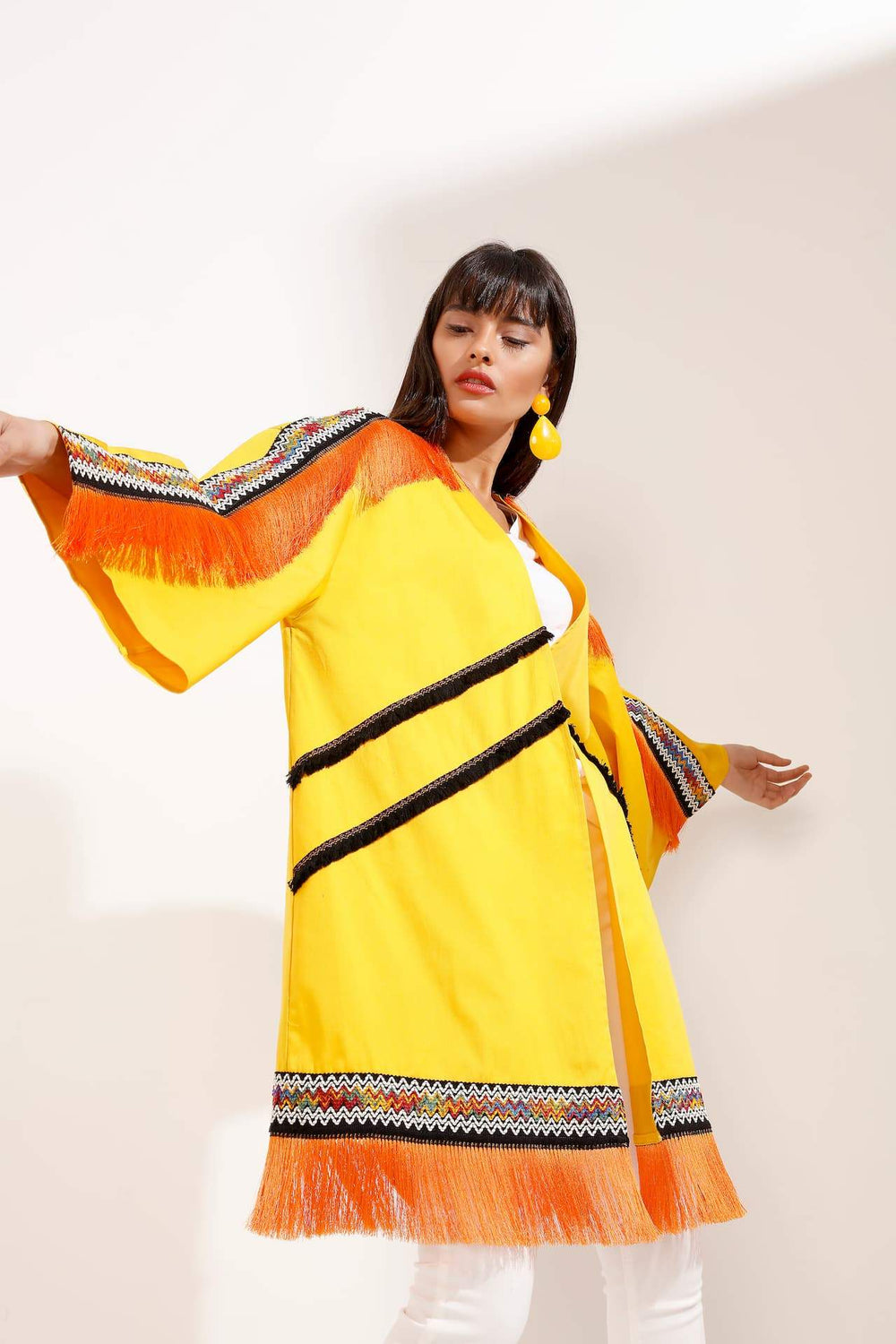 Store WF Orange Tasseled Fashionable Yellow Kimono Modest Loose Fitting Open Front Kimono with Stripes and Fringe in 100% Cotton