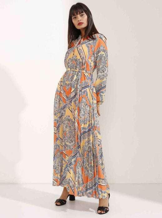 Store WF Orange and Yellow Pleated Elegant Patterned Maxi Dress Modest Loose Fitting Long Sleeves Maxi Print Dress with High Neck in 100% polyester