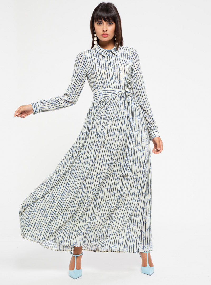 STORE WF Oriental Print Dress with Self Belt Modest Loose Fitted Long Maxi Dress with Sleeves, Floral Prints and Belt