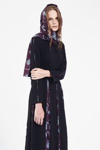 STORE WF Patterned Panel Midi Dress Modest Long Black Dress with Sleeves, Pleats and Purple Floral Print in Polyester