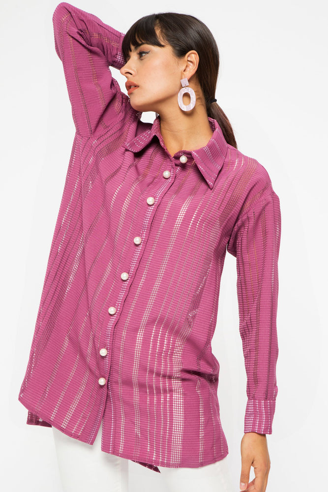 STORE WF Pearl Button Burgundy Tunic Shirt Modest Loose Fitted Long Top with Sleeves in Pink