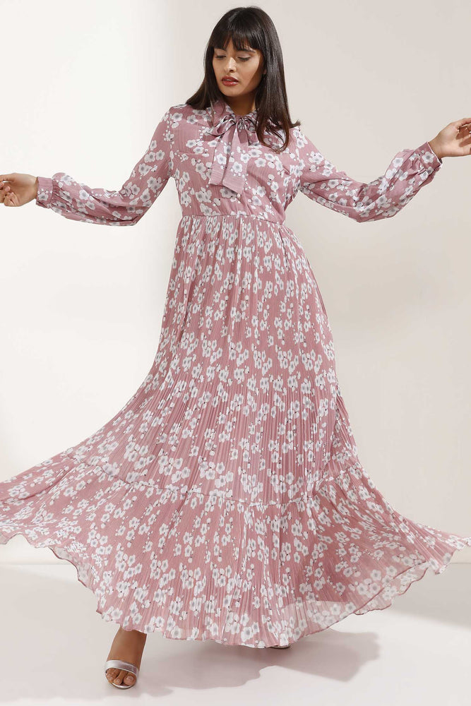 Store WF Pale Pink and White Flower Patterned Long Dress Modest Maxi Loose Fitting Dress with Bow and Sleeves in 100% Polyester