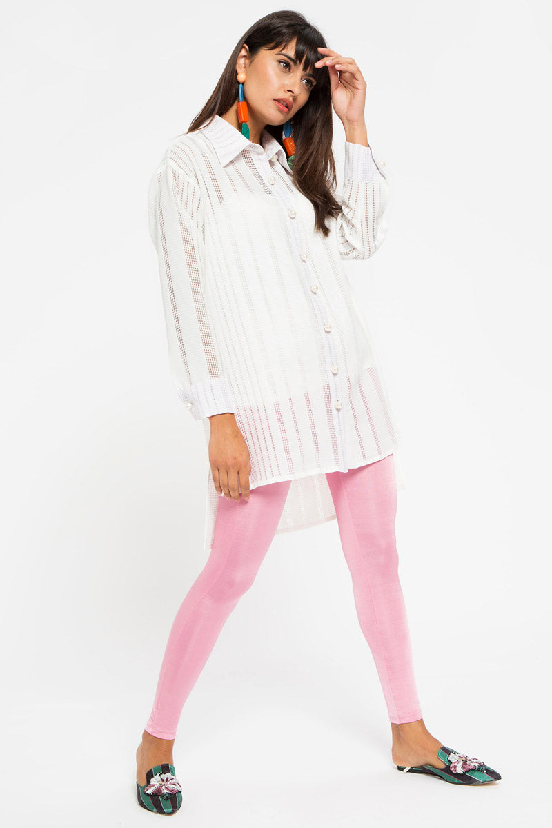 STORE WF Pearl Button White Tunic Shirt Modest Loose Fitted Long Top with Sleeves and Front Buttons
