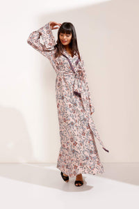 Store WF Pink Floral Maxi Dress with Tassel Collar and Belt Modest Wrap Front Loose Fitting Dress with Long Sleeves in 100% Viscose