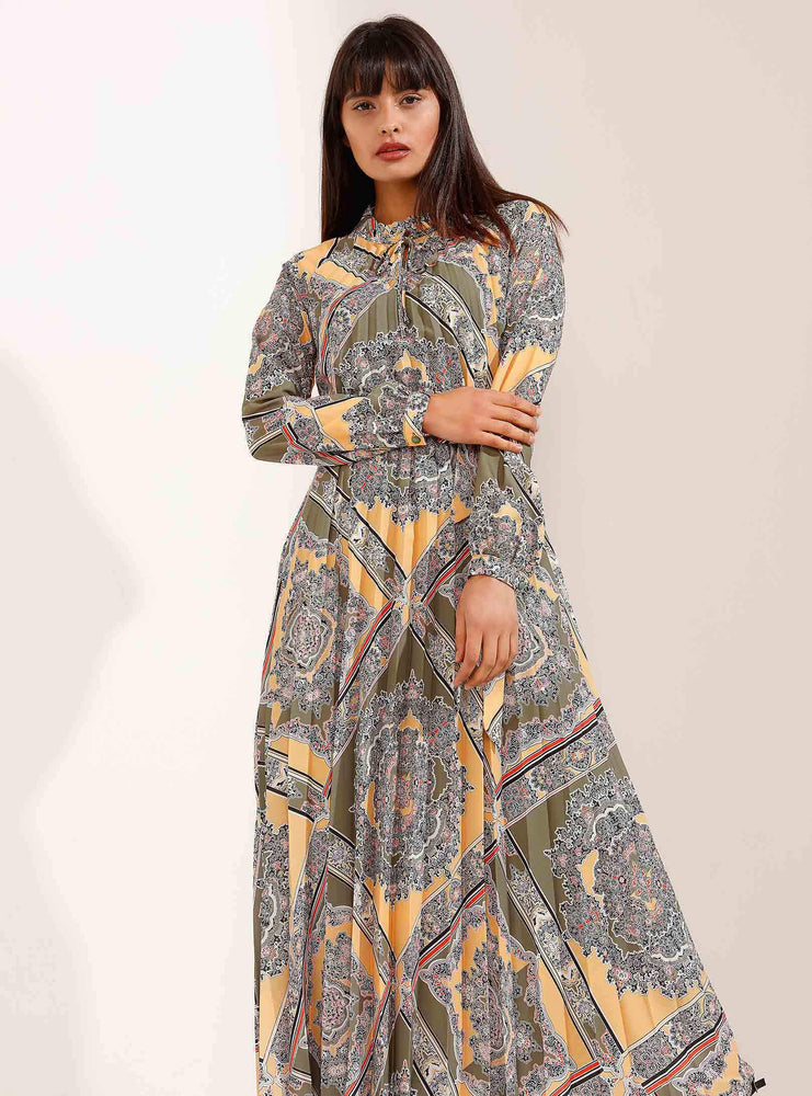 Store WF Pleated Maxi Dress with Classic Elegant Pattern Modest Loose Fitting Long Sleeves Maxi Print Dress with High Neck in Yellow