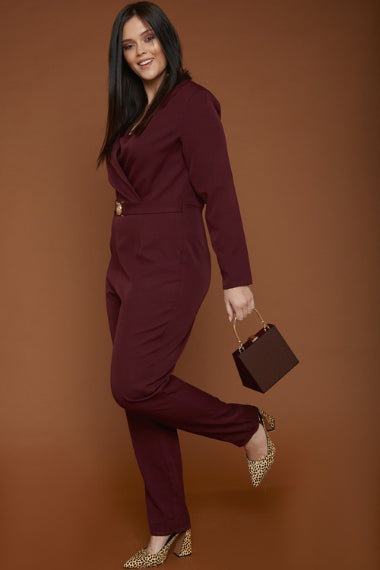 UNIQUE21 Plus Size Burgundy Tailored Jumpsuit With Gold Buckle | Modest Long Sleeve Jumpsuit With Belt, Lapel Collar, Wrapover Front