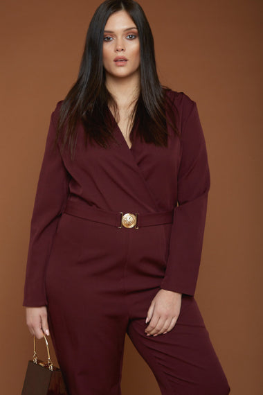 UNIQUE21 Plus Size Burgundy Tailored Jumpsuit With Gold Buckle Modest Long Sleeve Jumpsuit With Belt, Lapel Collar, Wrapover Front