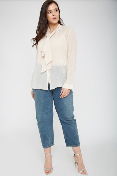UNIQUE21 Plus Size Nude Pussybow Blouse With Polka Dots Modest Sheer Loose-Fitting Top for Women With Ribboned Collar, Long Sleeves, Buttoned Cuffs