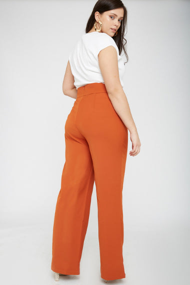 UNIQUE21 Plus Size Rust High Waisted Lace Up Trouser Modest Ankle-Length Loose-Fitting Pants for Women with Ribboned Waist Detail, Back Zipper