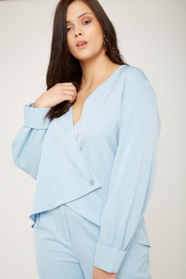 UNIQUE21 Plus Size Sky Blue Pinstripe Wrap Top Modest Loose Long-Sleeved Ladies' Blouse With Single Button