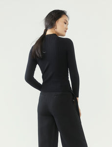 r y e  Modest Women Ribbed Knit Long Sleeve Top in Black with ribbed details and high neck collar made from 95% Viscose and 5% Spandex back view