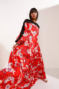 Red Base Floral Maxi Dress with Black Lace