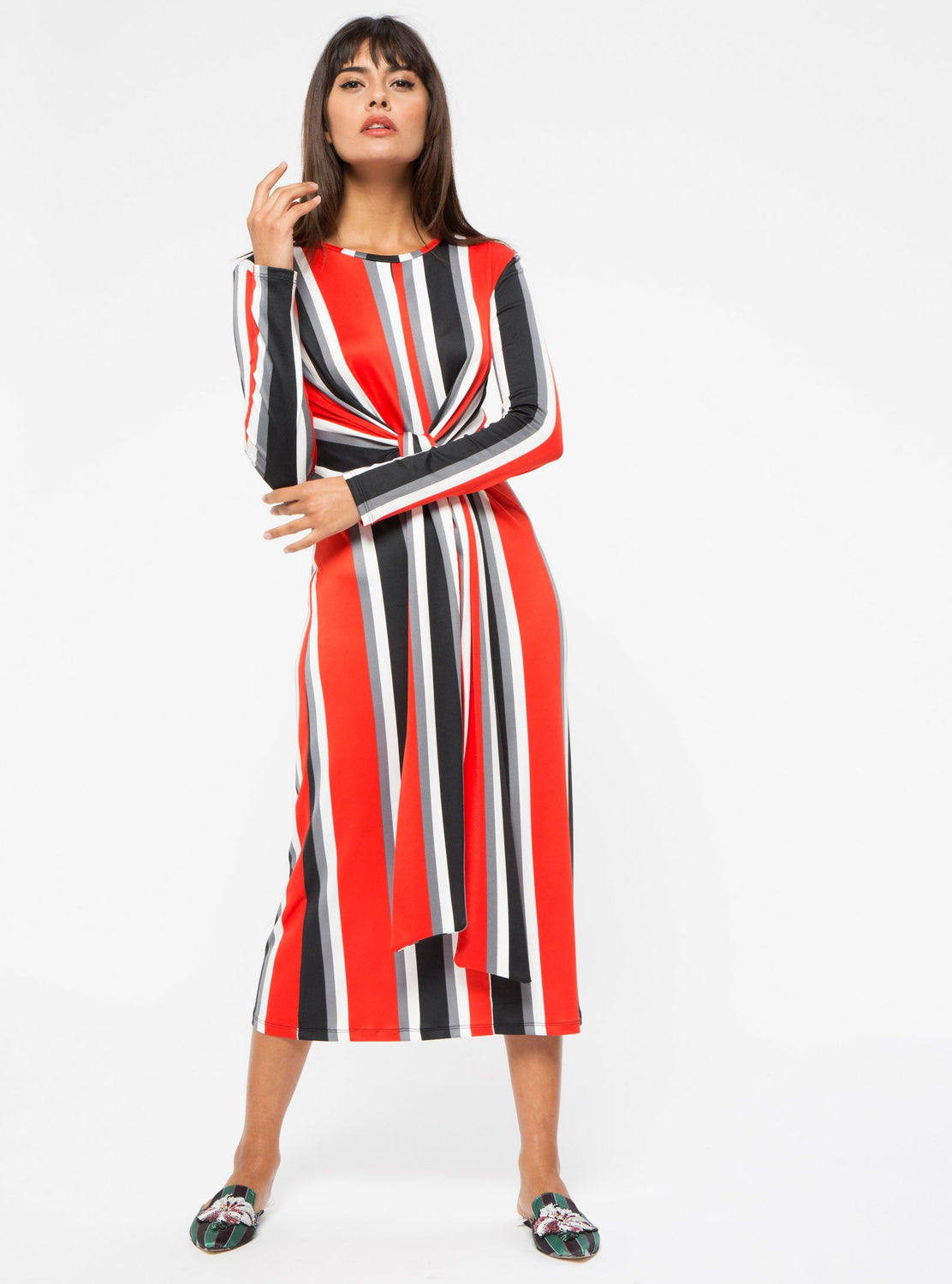 STORE WF Red Tie Front Stripe Midi Dress Modest Stripe Midi Dress with Long Sleeves and Tie Front