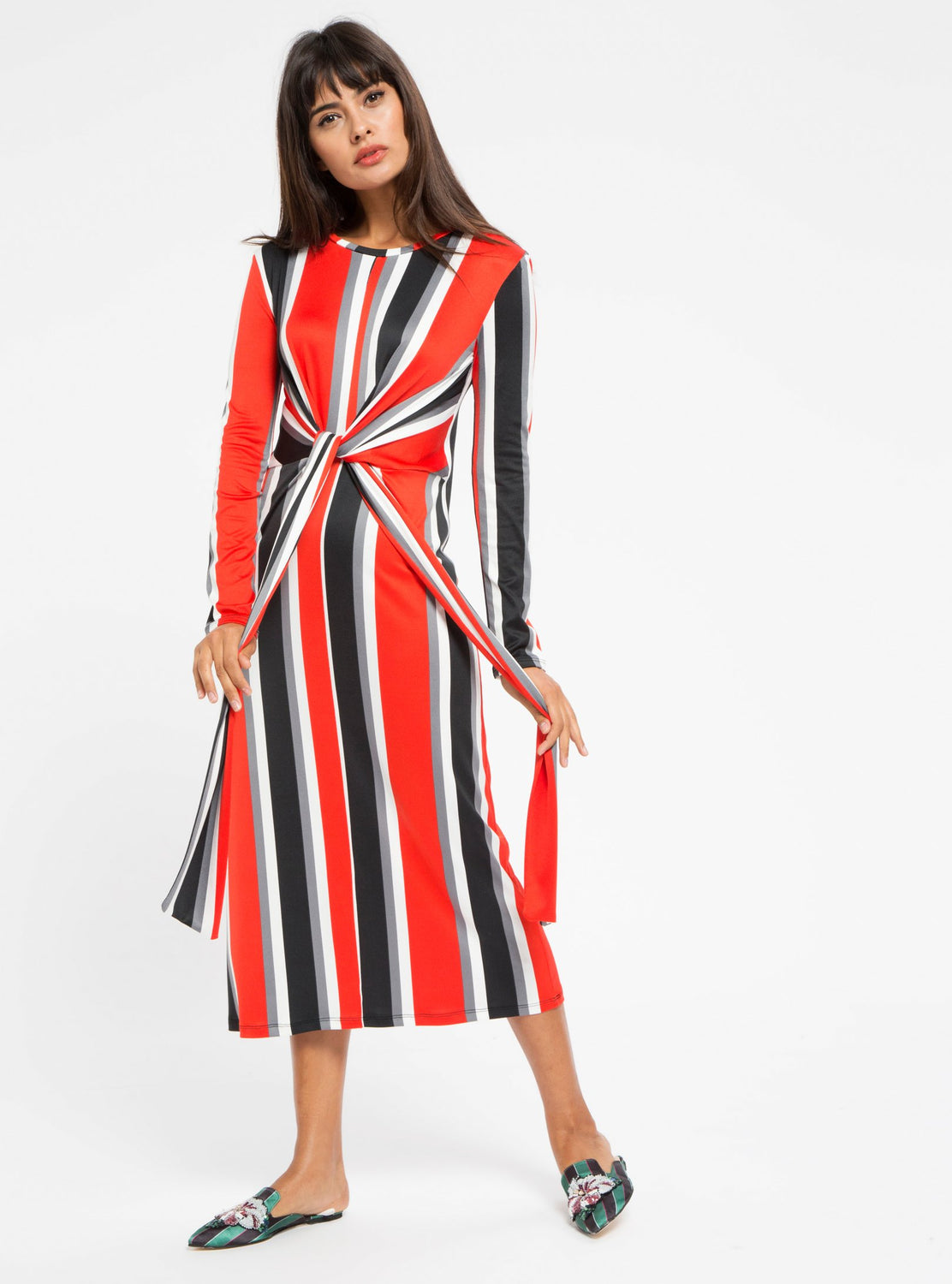 STORE WF Red Tie Front Stripe Midi Dress Modest Stripe Midi Dress with Long Sleeves and Tie Front in Red