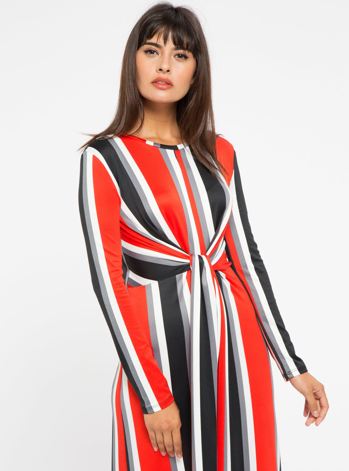 STORE WF Red Tie Front Stripe Midi Dress Modest Stripe Midi Dress with Long Sleeves and Tie Front in Red and Black
