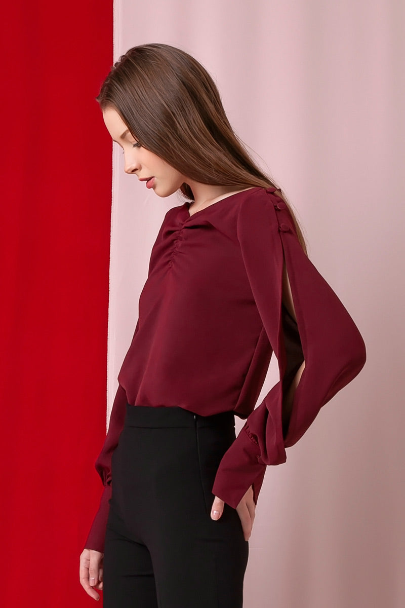 Domani Modest Long Sleeves Top in Red with Slit on Arms Loose Fit in Polyester and Cotton