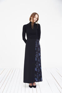 STORE WF Side Pleated Skirt Modest Maxi Skirt with Pleats and Floral Prints on Side in Navy