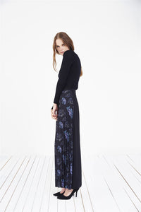 STORE WF Side Pleated Skirt Modest Long Printed Skirt