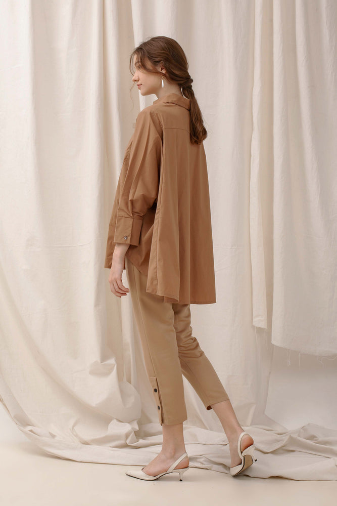 Le Bijou Skylar Oversize Shirt in Tan Modest Loose Fitting Women Brown Shirt with Long Sleeves in Cotton