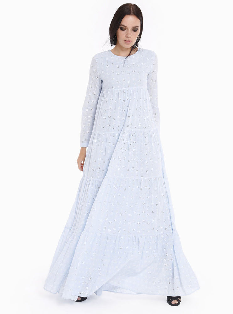 603ce985941 STORE WF Embroidery Burnout Flower Pattern Baby Blue Dress Modest Loose  Fitted Maxi Dress with Long