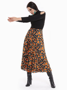 STORE WF Pleated Maxi Skirt Modest Loose Fitted Long Skirt with Watermelon Prints and Pleats in Polyester