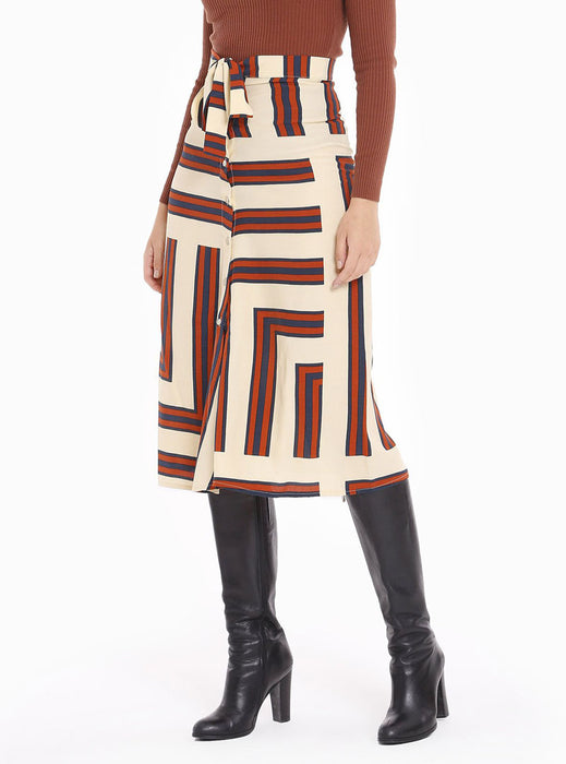 STORE WF Asymmetric Stripe Button Sown Belted Maxi Skirt Modest Loose Fitting Midi Skirt with Front Buttons, Waist Tie in Brown Beige in 100% Viscose